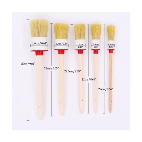 5 Pcs Premium Natural Boar Hair Detail Brush Set Automotive Detailing Brushes
