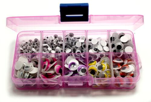 Wackelaugen BOX//sets 470-535 pièces auto-adhésif//4mm-20mm//coloré//noir et blanc