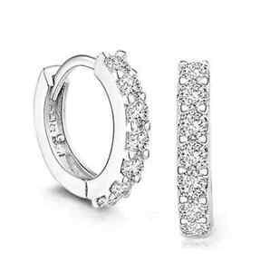 Luxury-Womens-White-Gemstones-Crystal-Silver-Hoop-Earrings-Wedding-Jewelry-Gift