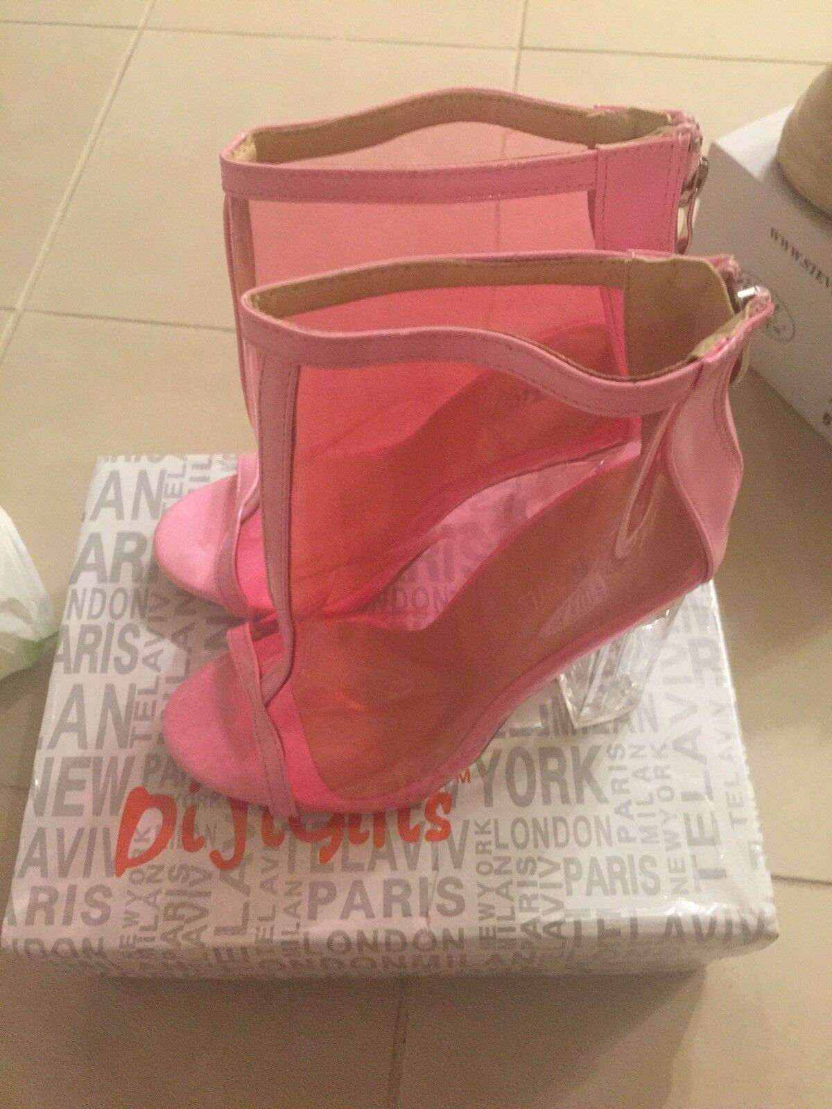 Pink Clear Peep Toe Lucited Chunky High Heel Ankle Booties Size 6.5