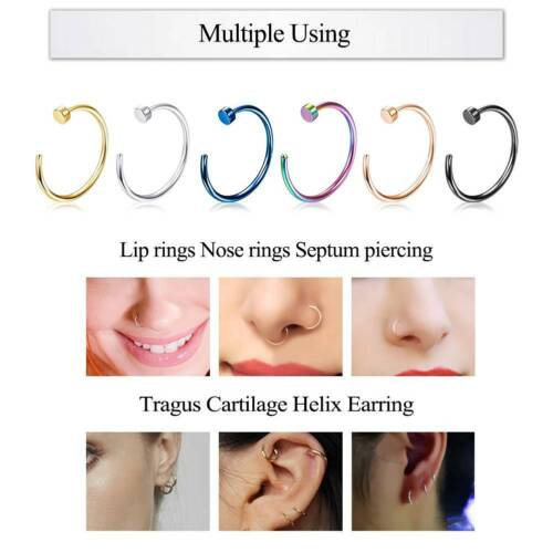 2PCS 20G Nose Ring Hoop 316L Stainless Steel Tragus Cartilage Helix Earrings