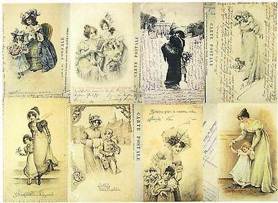 A/4 Classic Decoupage Paper Scrapbook Sheet Vintage Old Winter Postcards
