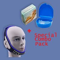 Anti Snore Pro Chin Strap + Stop Snoring Mouthpiece Sleep Apnea Night Guard Tmj