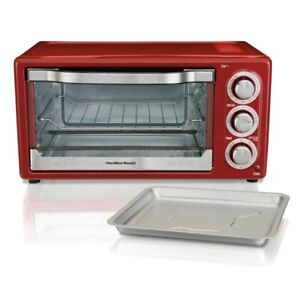 Electric Convection Boiler Oven Red Toaster 2 Rack
