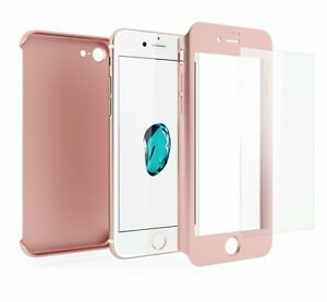 Coque-Etui-Verre-Trempe-Protection-Integrale-360-iPhone-6-6S-7-8-Plus-X-5S-SE