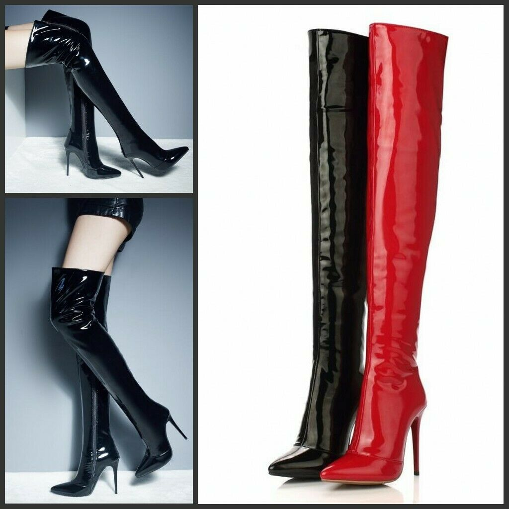 Sexy Womens Patent Leather Pointy Toe Knee High Boots Stilettos Nightclub shoes