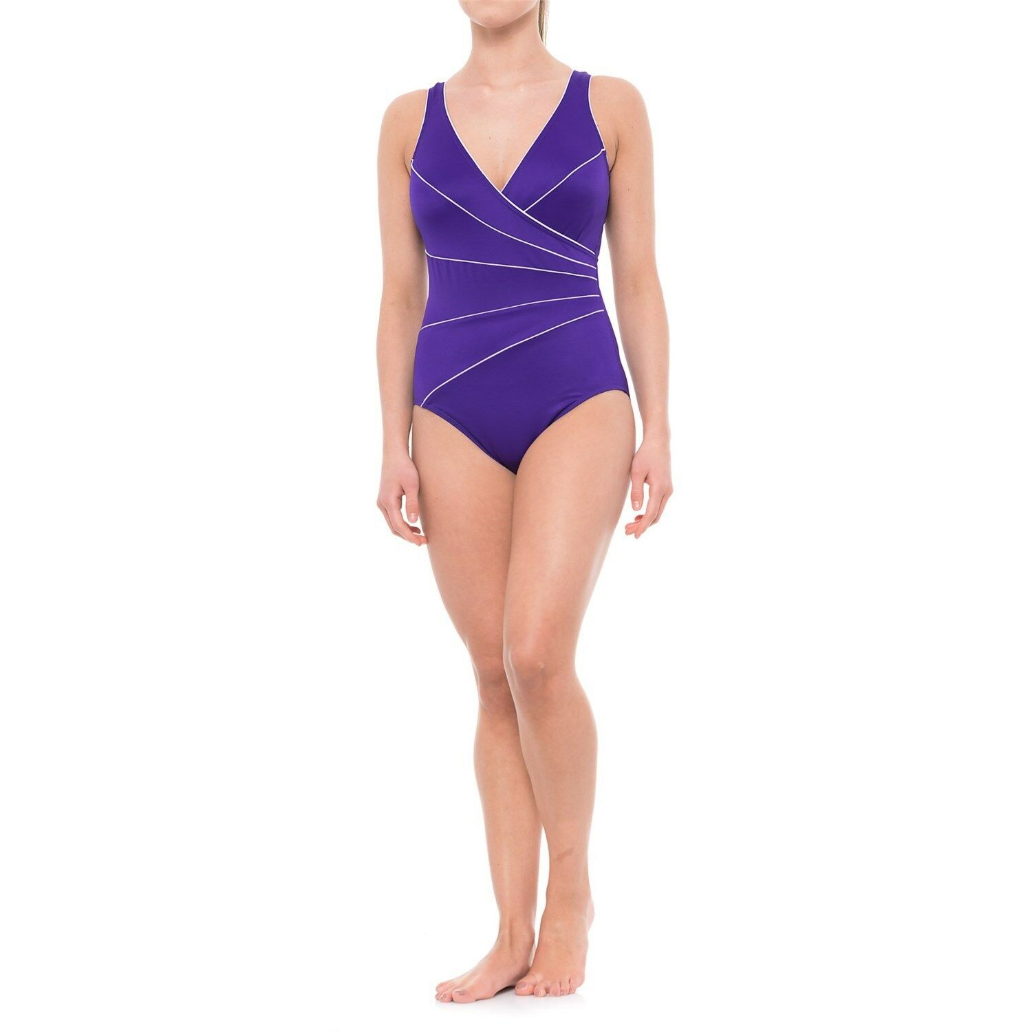NEW MIRACLESUIT Sz 14 44 Horizon Marine blueE TANK 1 PIECE SWIMSUIT  150 Retail