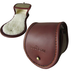 Tourbon-Fly-Fishing-Reel-Pouch-Cover-Rod-Spool-Case-Leather-3-034-Vintage-Brown-USA
