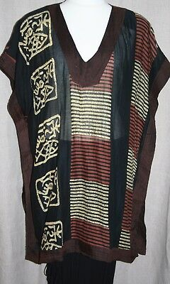 "Vintage Plus Size Cotton Tunic 60""BUST Ethnic Print Tabbard HIPPY Sheer Longline"