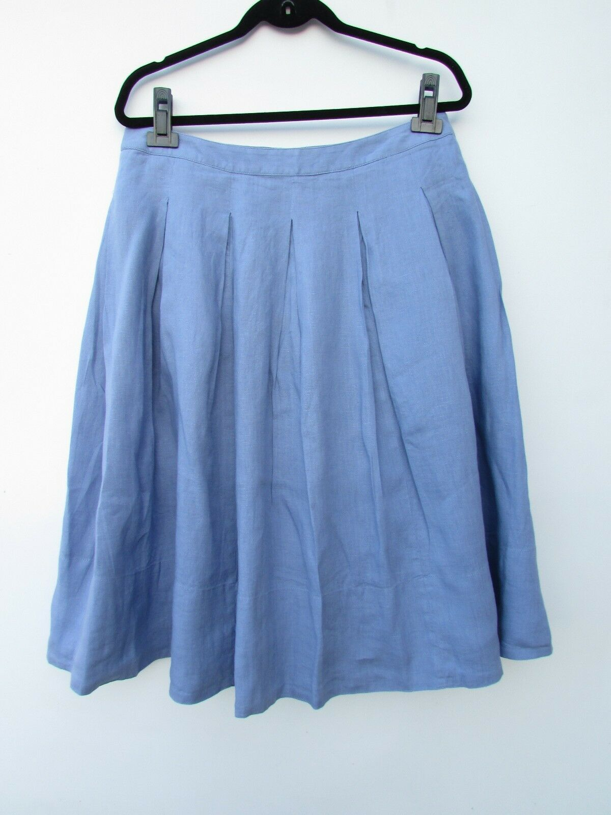 Talbot's NWT Womens 10 bluee Pleated Full 100% Linen Skirt DC1