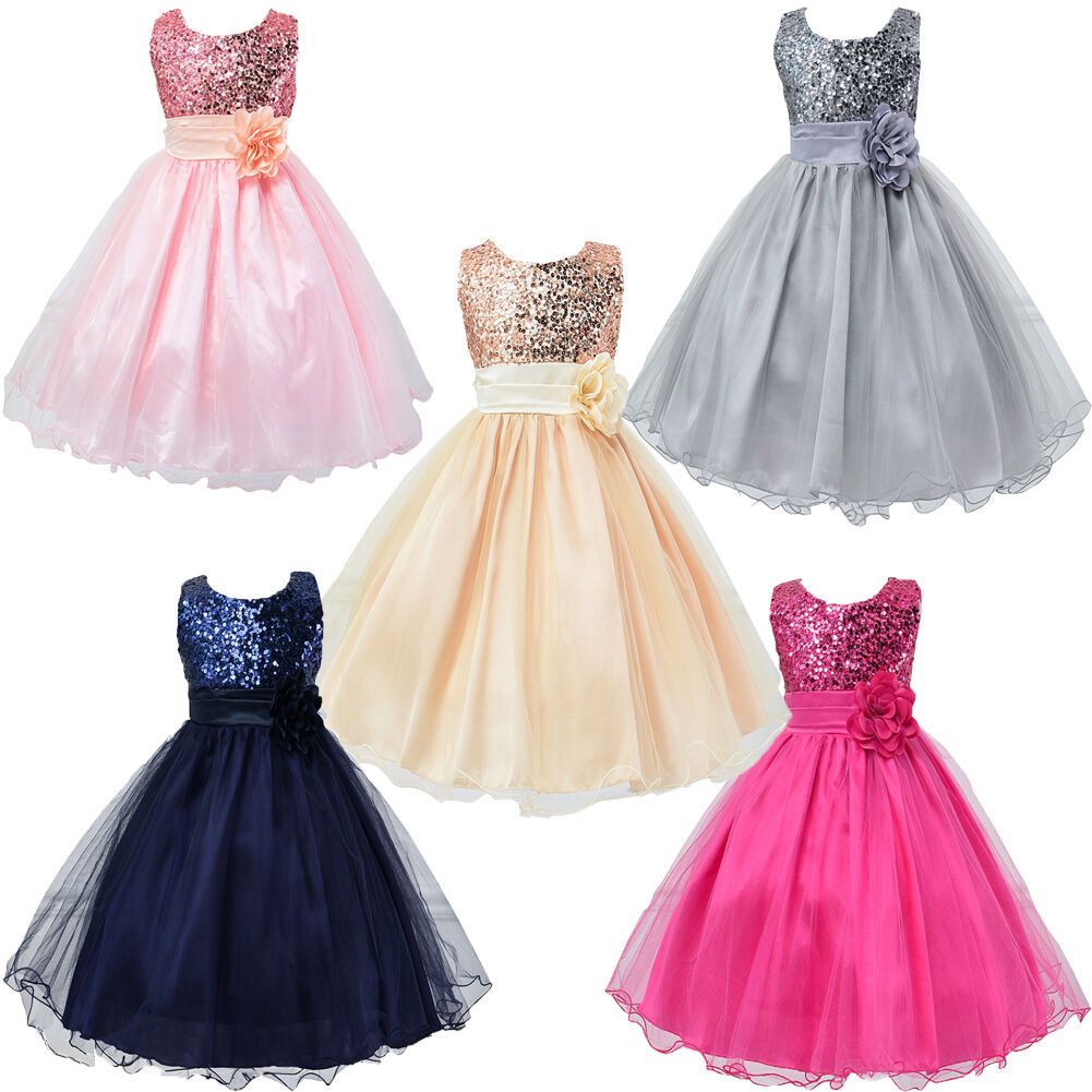 Kids Girls Princess Flower Sequin Tutu Dress Wedding Party Bridesmaid Tank Dress