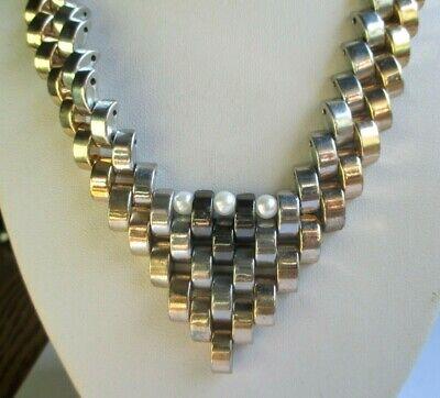 Consegna Veloce Unique Rare Collier Plein Couleur Or Et Argent Hématites Perles Bijou Vintage Con Il Miglior Servizio