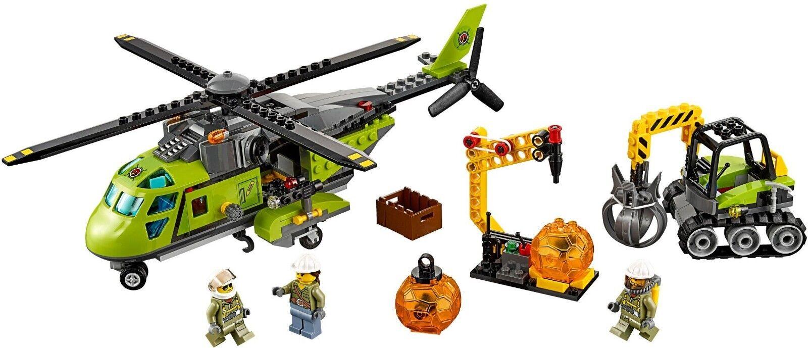 LEGO città 60123 Volcano Supply Helicopter 100% completare  with uomoual & Minifigs  scegli il tuo preferito
