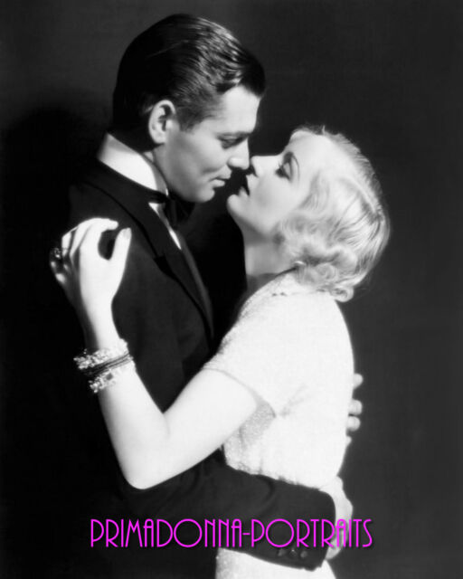 """CAROLE LOMBARD & CLARK GABLE 8X10 Lab Photo 1932 """"NO MAN OF HER OWN"""" Romantic"""