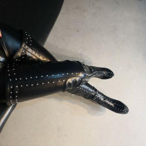 Women/'s Platform High Heel Rivet Knee Thigh High Boots Round Toe Nightclub Shoes