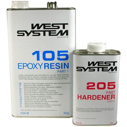 B Pack West System Epoxy resin Kit 5kg 105 Resin /& 1kg 205 Fast Hardener