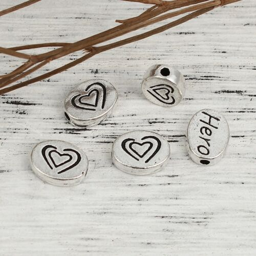 Heart Hero Beads 11mm Antique Silver Plated Spacer Beads B5559-10 20 Or 50PCs