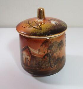 Penco-Hand-Painted-Portugal-Porcelain-Candy-Cracker-Jar-Farm-House-Scene