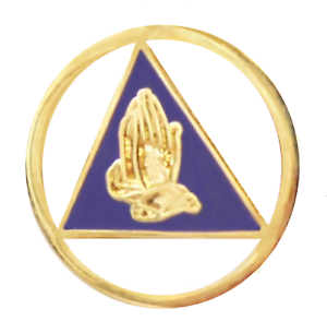 Alcoholics Anonymous AA Praying Hands Within A Circle & Triangle Pin Badge