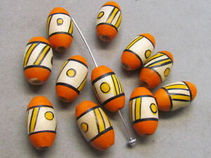10 Orange Yellow Black 18x11mm Wood Beads(,K179G22)