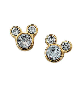 Image Is Loading Avon Disney Mickey Mouse Stud Earrings Gold Rhinestones