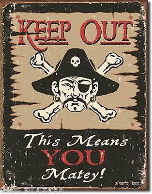 Large Keep Out Man Cave Boys Bedroom Vintage Rustic Metal Tin Sign New 1289