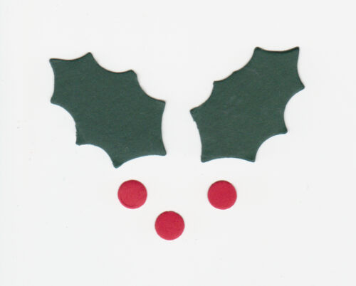 30 Sizzix Die Cut Holly Leaves and Berries Christmas Cardmaking