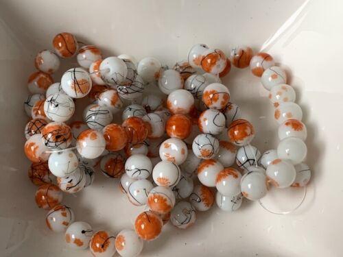 Glas Perlen Glasperlen schwarz weiß orange marmoriert  8mm 100 Stück Schmuck G38