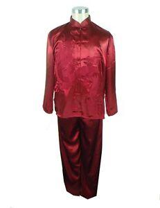Handsome Chinese silk men s kung fu suit pajamas burgundy SZ  M L XL ... 50e89c311