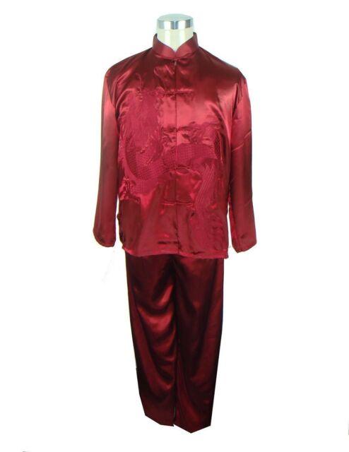 Handsome Chinese silk men's kung fu suit burgundy SZ: M L XL XXL XXXL
