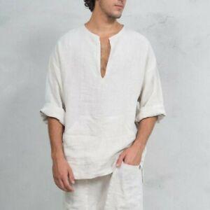 Mens-Linen-Casual-Wide-Sleeve-T-Shirt-Short-Kurta-Islamic-Clothing-Top-Tee-Shirt