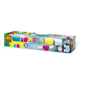 Ses-Creative-Children-039-s-Play-Dough-Neon-y-Glow-in-the-dark-Set-4-botes