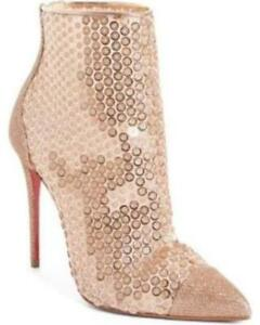 new arrival 1d8ab dea41 Details about Christian Louboutin GIPSYBOOTIE 100 Sequin Glitter Heel Ankle  Boots Bootie $995