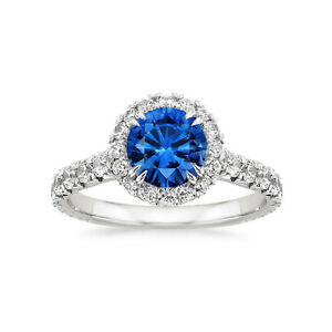14K-White-Gold-2-55-Ct-Round-Natural-Sapphire-Diamond-Engagement-Ring-Size-M