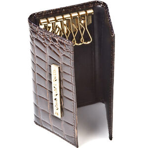 Ladies-Designer-Crocodile-Skin-Leather-Key-Holder-Pouch-Pocket-Alligator-Vintage