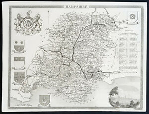 COUNTY MAP OF HAMPSHIRE 1836 BY THOMAS MOULE
