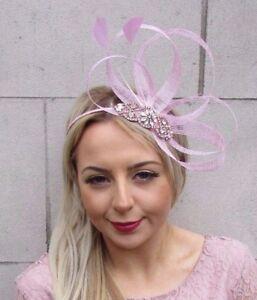 Rose Gold Baby Light Pink Silver Feather Sinamay Fascinator Headband ... 674628b22f5