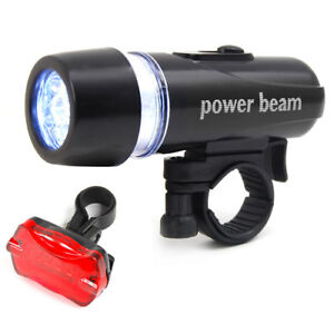 Waterproof-Bright-5-LED-Bike-Bicycle-Head-amp-Rear-Lights-Light-6-Modes-Wide-Beam