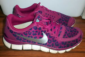 2b4ebc9199dd WOMENS NIKE FREE 5.0 V4 LEOPARD RASPBERRY WOMEN SPORTS SHOES 511281 ...