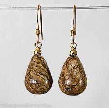 14k GOLD FILLED GF GENUINE PICTURE JASPER SMOOTH BRIOLETTE / DROP EARRINGS