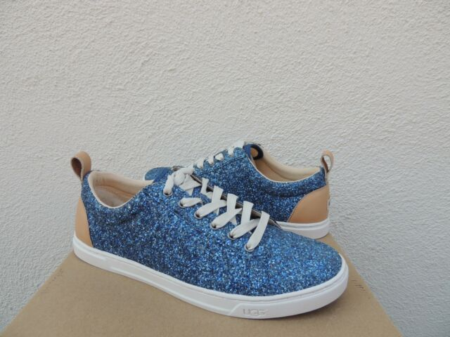 441cbc55a057 UGG KARINE BLUE CHUNKY GLITTER LEATHER LACE-UP SNEAKERS , US 11/ EUR 42