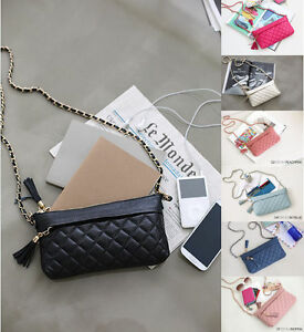 New-PA07-Mini-Genuine-Leather-Tassel-Quilted-Chain-Crossbody-Shoulder-Clutch-Bag