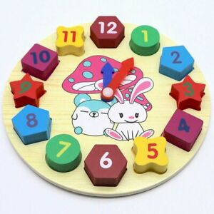 Wooden-Clock-Jigsaw-Block-Puzzle-Kids-Montessori-Time-Education-Educational-Gift