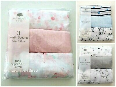 Disney Baby Boy Girl Muslin Square Cloth Set Of 3 Primark