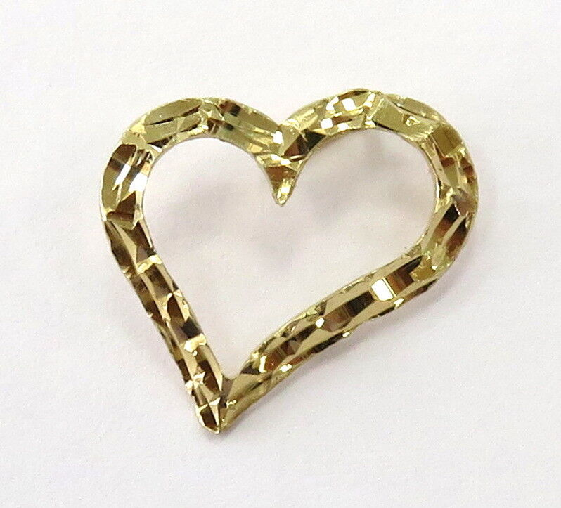 14K Yellow gold Sideway Diamond Cut Heart Charm Pendant   0.7g