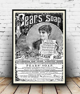Pears-Soap-Old-B-amp-W-Newspaper-advert-poster-Reproduction-poster-Wall-art
