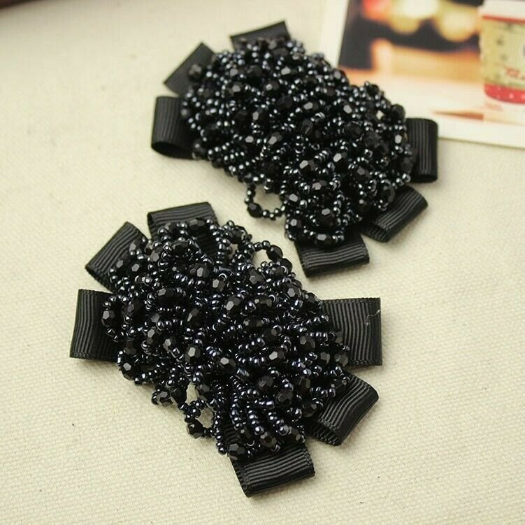 1 Pair Crystal Beads Bows Boot Shoe Clips Lady Children Girls Sandal Accessories