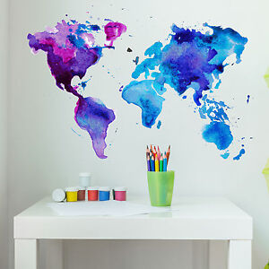 World Map Wall Mural watercolor world map wall decal - wall sticker, home decor, wall
