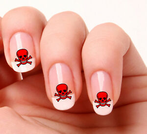 20 Nail Art Decals Transfers Stickers 333 Skull Crossbones Ebay