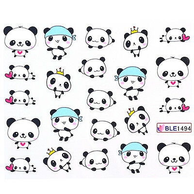 Nail Art Water Decals Transfers Sticker Cute Playing Panda Pattern 1 Sheet